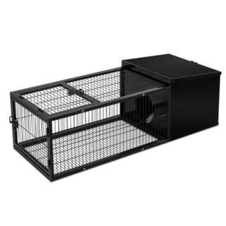 Medium Metal Rabit Hutch Black Two Wide Secure Entrance
