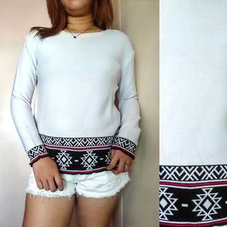 White pullover with aztec touch