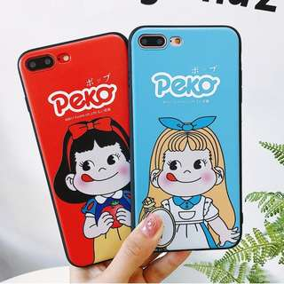 (Y)手機殼IPhone6/7/8/plus/X : 不二家牛奶妹公主造型全包黑邊軟殼