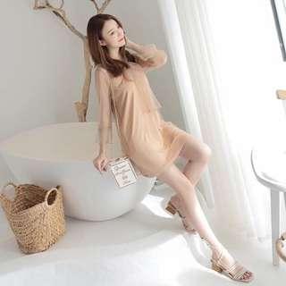🚚 (品質保證)韓版氣質蕾絲兩件式套裝無袖係肩帶連身裙洋裝網紗罩衫