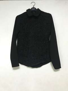 Formal Black Longsleeves Blouse