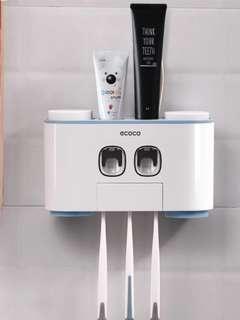 牙膏牙擦置物架,免安裝,連四杯