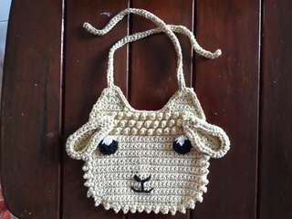 Crochet sheep baby bib