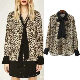 Leopard print long sleeves with bowtie