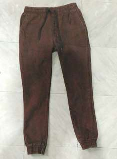 Brown suede like jogger pants