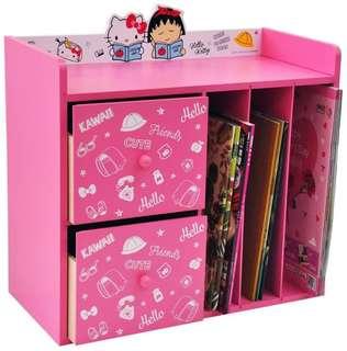 正版授權 三麗鷗HELLO KITTY凱蒂貓x櫻桃小丸子收納三抽櫃 抽屜櫃 置物櫃 書櫃 櫥櫃