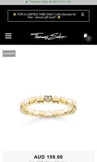 Thomas Sabo Gold Ring w/ diamonds