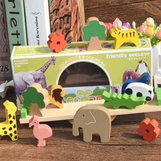 日本 friendly seesaw 木制動物益智玩具