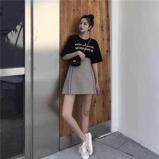 Ulzzang Words Printed Short Sleeve Tshirt / High Waist Checkered Skirt