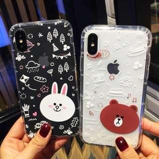 (Y)手機殼IPhone6/7/8/plus/X : 可愛Linefriends全包邊透明軟殼