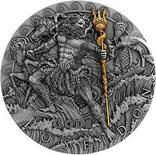 Poseidon God of sea 2 oz silver coin.