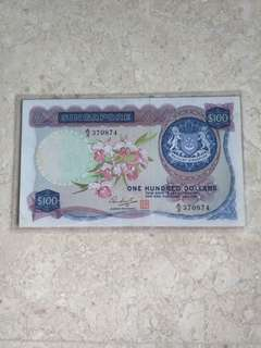 SINGAPORE $100 ORCHID HSS W/SEAL A/3 370874 VF+