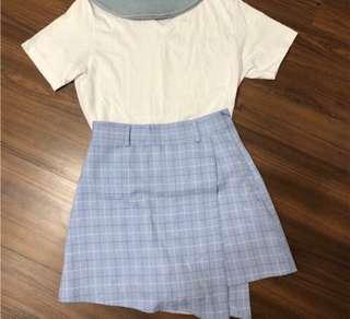 🚚 韓系格紋短褲裙(+腰帶)