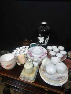 Vintage ceramics, glassware and furniture clearance