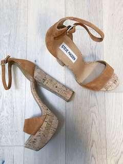 Brand New Cork Chunky Block Heel Platform Sandal