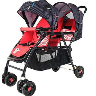 Lightweight One Button Close Double stroller