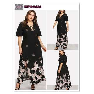 CODE: MPS-0421 Plus Size Bird Print Dress