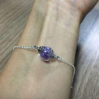 <手作>迷你玻璃球水晶手鏈 (紫水晶)