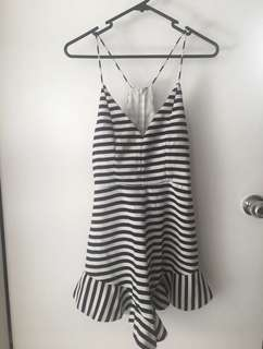 Boutique playsuit black and white stripes Zip back size 8/10