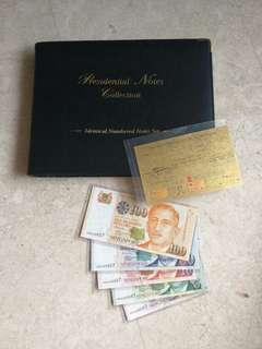 5 PCS SINGAPORE $2 - $100 PORTRAIT IDENTICAL S/N SET 0AA000657 WITH 24K GOLD CERT & ALBUM UNC