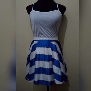 WA716 Blue and White A Line Skirt (see pics for Measurements) top not included