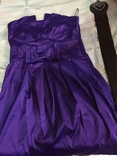 Satin purple strapless dress