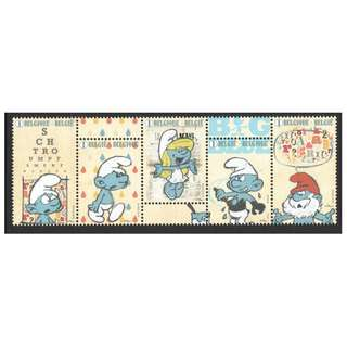 BELGIUM 2018 SMURFS CARTOON 60TH ANNIV. STRIP OF 5 STAMPS IN MINT MNH UNUSED CONDITION