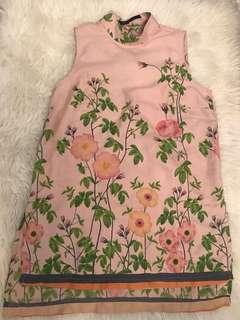 MINIMAL high neck dusty pink top flower