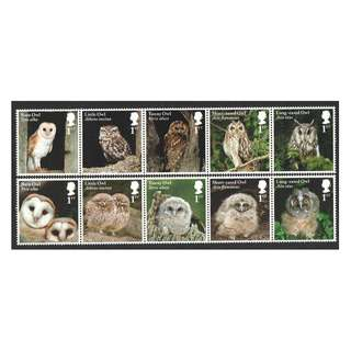 GREAT BRITAIN UK 2018 BIRDS OWLS 2 STRIPS OF 5 STAMPS EACH (10 DIFFERENT) IN MINT MNH UNUSED CONDITION