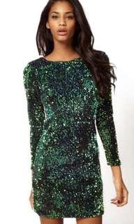 SHEIN green sequin dress