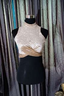 Factorie Velvet Crop Top in Champagne