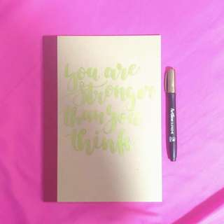 A5 muji Notebook + customised quote,
