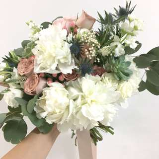 Bridal Bouquet in White Peonies and Cappaucino roses / Wedding Flowers