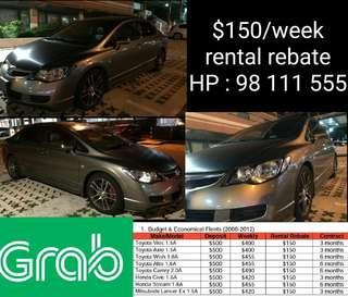 GRAB CAR RENTAL Honda Civic 1.6A. Weekend rental Wedding car rental Cheap cars for rent Immediate car rental Cars for lease Lease to own Long term rental Uber Grab Car GrabCar fleets Last minute car rental Personal usage cars
