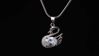 Beautiful Swan 92.5 Sterling Silver Necklace