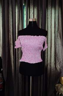 Gingham Pink Off Shoulders