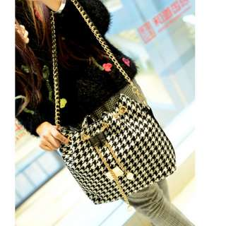 Two Tone Gold Chain Pearl Canvas Sling Bag