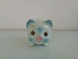 70s Pig Porcelain Coin Bank Perfect