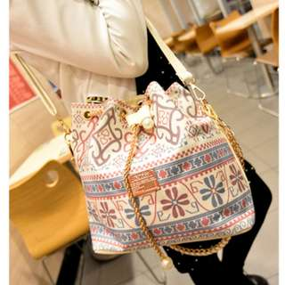 Floral Aztec Gold Chain Pearl Canvas Sling Bag