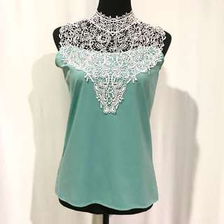 Seafoam Green Applique Top