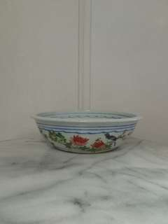 Antique Porcelain Pot Hand Painted Flowers And Bird Height 8.5cm Diameter 34cm In Perfect Condition