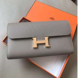 Hermes Constance Wallet Epsom Rose Gold Hardware M8 Grey