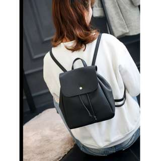 Bucket Style Korean Leather Backpack