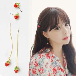 Dangling Strawberry 18k Gold Plated Earrings