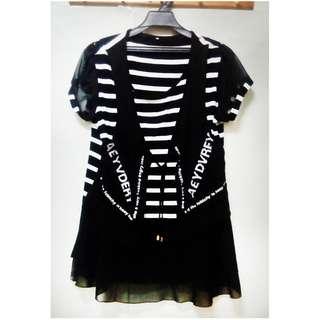 女裝XL號條紋假兩件拼接雪紡裙襬短袖T恤上衣