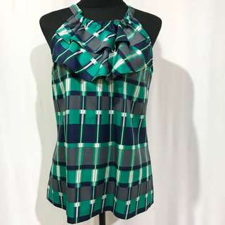 Ruffled Checkered Halter Top