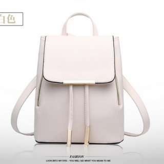 Korean Simple Casual Leather Backpack School Bag Office Bag