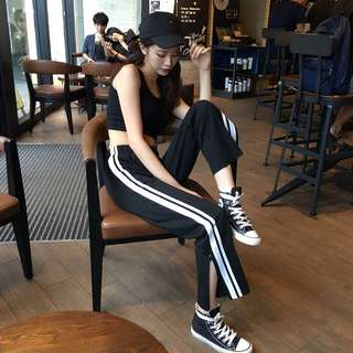 [PO] Uzzlang Side Stripes Slit Pants