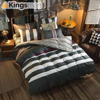[Kingsman] MODERN Design Printing 4 in 1 Cotton Premium Soft Bed Sheet Cover Set