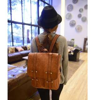 Korean Style Vintage Leather Backpack
